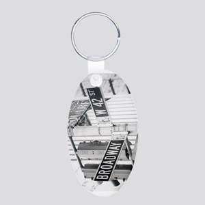 NY Broadway Times Square - Aluminum Oval Keychain
