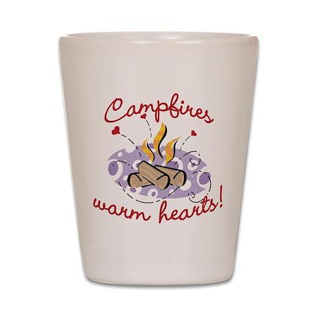 CAMPFIRES WARM HEARTS! Shot Glass