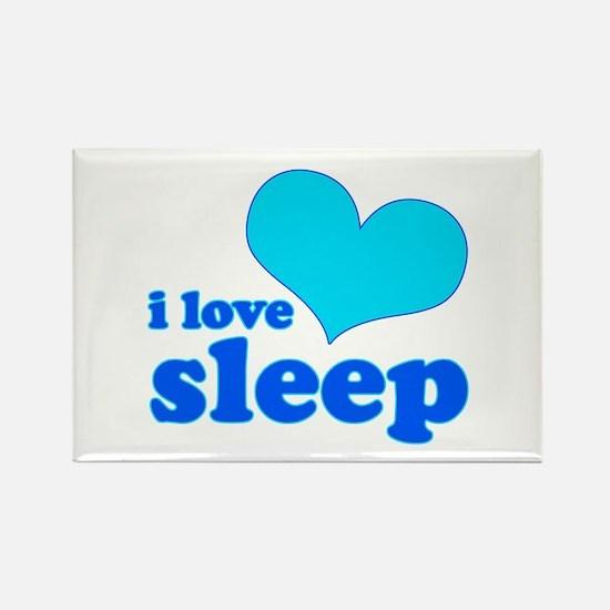 I Love Sleep (blue) Rectangle Magnet