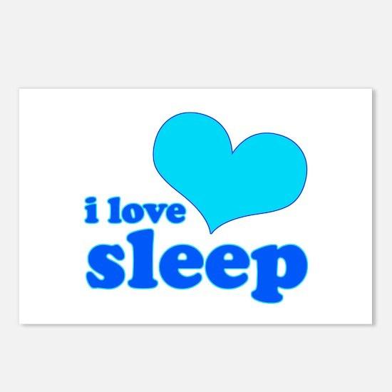 I Love Sleep (blue) Postcards (Package of 8)