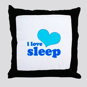 I Love Sleep (blue) Throw Pillow