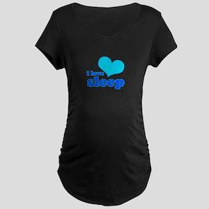 I Love Sleep (blue) Maternity Dark T-Shirt