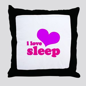 I Love Sleep (pink) Throw Pillow