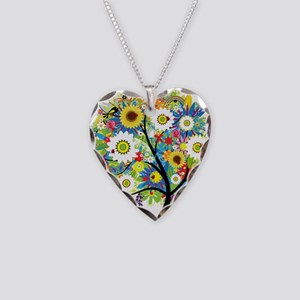 summer tree Necklace Heart Charm