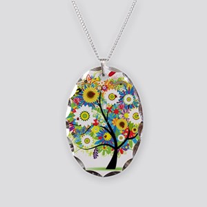 summer tree Necklace Oval Charm