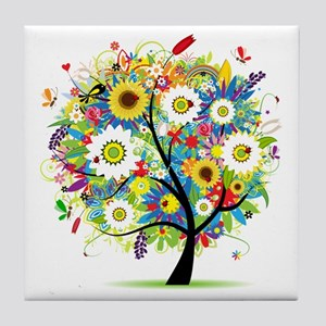 summer tree Tile Coaster