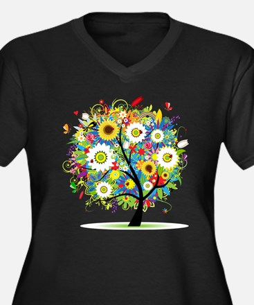 summer tree Women's Plus Size V-Neck Dark T-Shirt