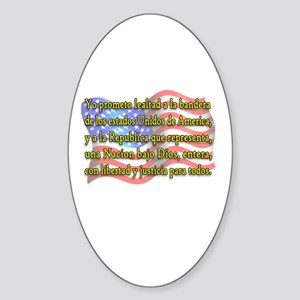 Pledge of Allegiance in Spanish Oval Sticker