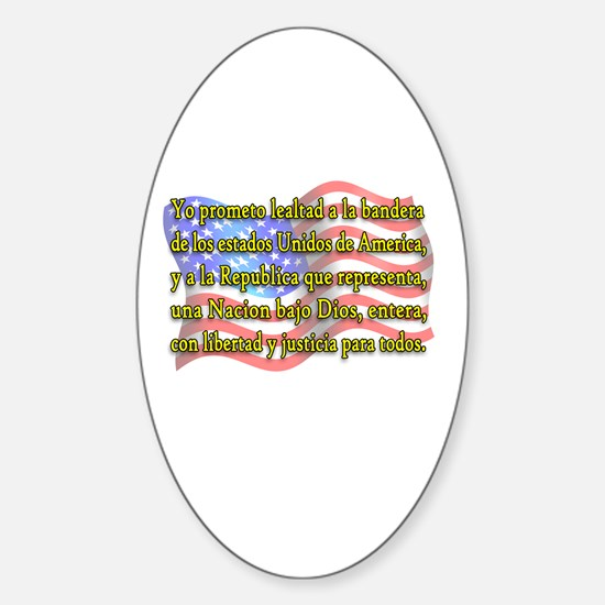 Pledge of Allegiance in Spanish Oval Decal