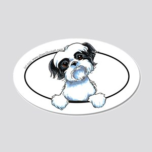 B/W Shih Tzu Peeking 20x12 Oval Wall Decal