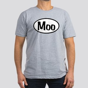 Moo Oval Men's Fitted T-Shirt (dark)