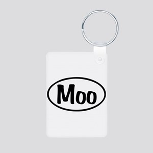 Moo Oval Aluminum Photo Keychain