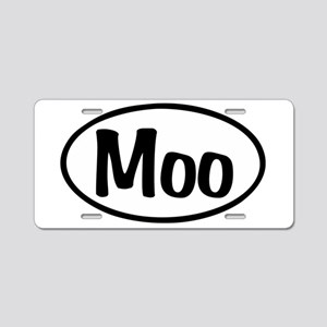 Moo Oval Aluminum License Plate