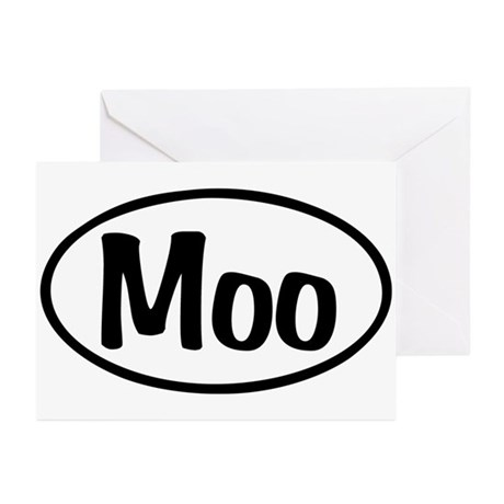 Moo Oval Greeting Cards (Pk of 10)