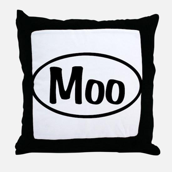 Moo Oval Throw Pillow