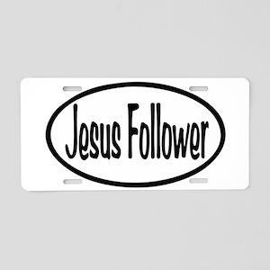 Jesus Follower Oval Aluminum License Plate