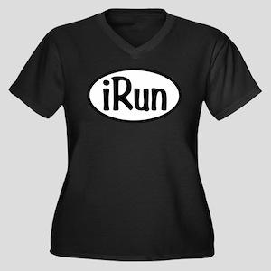 iRun Oval Women's Plus Size V-Neck Dark T-Shirt