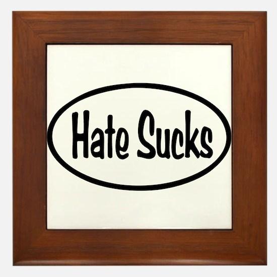 Hate Sucks Oval Framed Tile