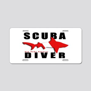 Scuba Diver: SHARK Aluminum License Plate