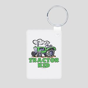 Green Tractor Kid Aluminum Photo Keychain