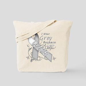 I Wear Grey, I Love My Wife Tote Bag