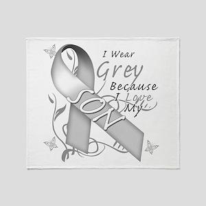 I Wear Grey, I Love My Son Throw Blanket