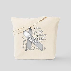 I Wear Grey, I Love My Son Tote Bag