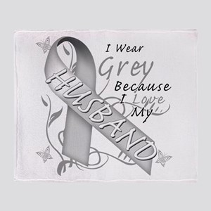 I Wear Grey, I Love My Husban Throw Blanket