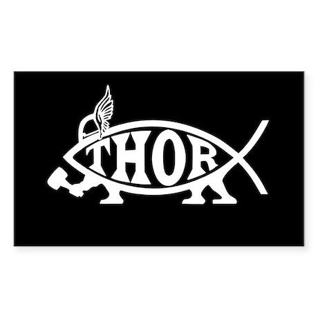Thor Asatru Fish Sticker (Rectangle)