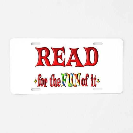 Reading Fun Aluminum License Plate