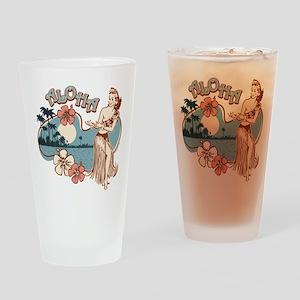 Aloha Hula Girl Drinking Glass
