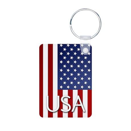 American Flag Aluminum Photo Keychain
