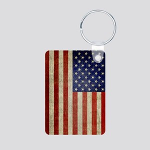Distressed Flag v2 Aluminum Photo Keychain
