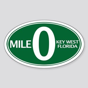 Mile 0 - Mile Zero - Key West, FL - Sticker (Oval)