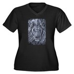 Bold Lion Women's Plus Size V-Neck Dark T-Shirt