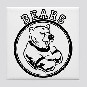 Bears Team Mascot Graphic Tile Coaster