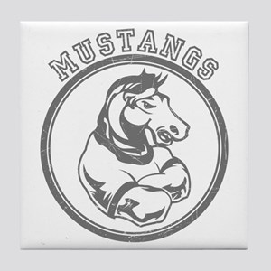 Mustangs Team Mascot Graphic Tile Coaster