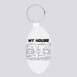 Basketball House Aluminum Oval Keychain