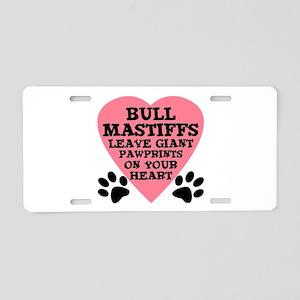 Bullmastiff Pawprints Aluminum License Plate