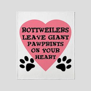 Rottweiler Pawprints Throw Blanket