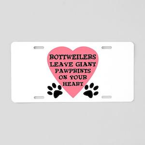 Rottweiler Pawprints Aluminum License Plate