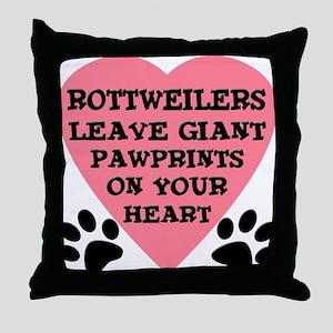 Rottweiler Pawprints Throw Pillow