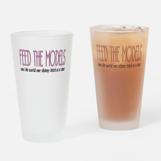 Feed The Models Drinking Glass