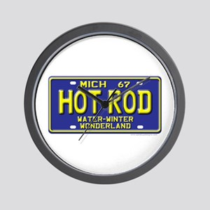 Hot Rod License Plate Wall Clock