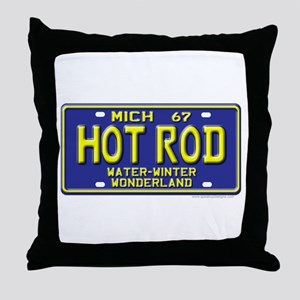 Hot Rod License Plate Throw Pillow