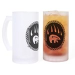 Tribal Bear Claw Art Frosted Stein
