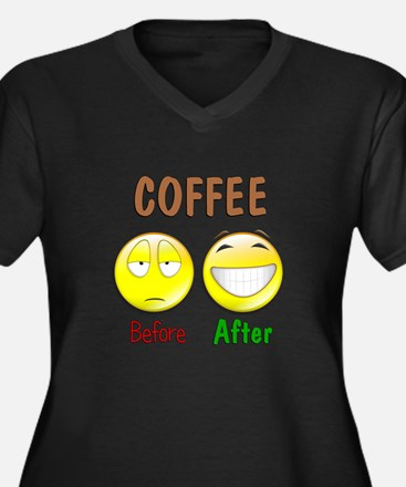 Coffee Humor Women's Plus Size V-Neck Dark T-Shirt
