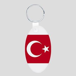 Turkish Flag Aluminum Oval Keychain