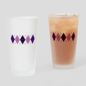 Purple Plaid Argyle Drinking Glass