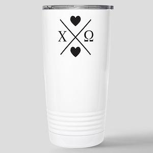 Chi Omega Cross 16 oz Stainless Steel Travel Mug